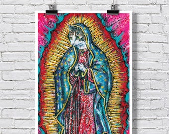 """Poster Print 18 x 24""""  - The Holy Peanut Virgin Mary Cat  -  virgin mary lady of guadalupe religious art religious humor cat art cat poster"""