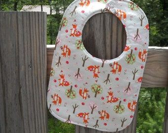 Sweet Foxes Reversible Baby Girl Bib, Triple Layer, Snap Closure, ready to ship