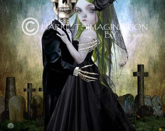 Eternal Love | Skeleton Groom And Bride | Gothic Wedding | Goth Wedding Gift | Skeleton Love Art