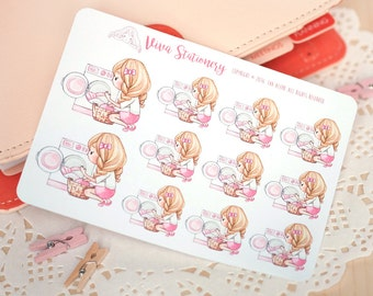 Kawaii Girl Laundry Day ~Valerie~ Stickers for your Life Planner, Diary, Journal, Scrapbook...