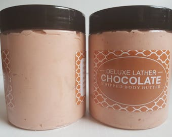 Whipped body butter - Chocolate. Shea butter. Mango butter. Coconut oil. Cocoa butter. Vitamin e. Jojoba oil. Natural. Gift for her. 8oz jar