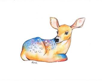 Watercolour deer / art print / A5 size