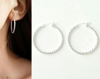 Hoop earrings Silver 925/000 - 30 mm in diameter, big hoops twisted hoop earrings - Hoop earrings 925 silver sterling
