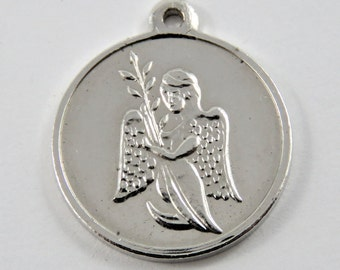 An Angel Holding a Branch of Oak Leaves 999 Pure Silver Charm of Pendant.