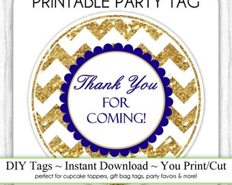 Instant Download - Gold Chevron and Navy Blue Thank You Printable Party Tag, Cupcake Topper, DIY, You Print, You Cut