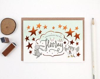 Let's Celebrate, Hip Hip Hooray - Copper Foil Greeting Card