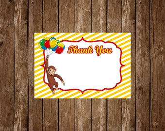 Curious George Thank You Card // Printable Thank You Card // Birthday Thank You