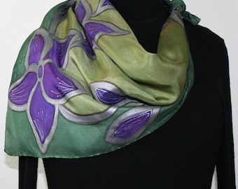 Silk Scarf Hand Painted. Silk Shawl Olive Green Purple. Silk Scarf PURPLE NATURE. Square 30x30. Mother Gift Bridesmaid Gift Free Gift-Wrap