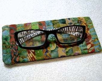 Fabric Eyeglass Case - Quilted Eyeglass Case - Glass Case - Batik Fabric Case - Sunglass - Handmade Case - EGC10
