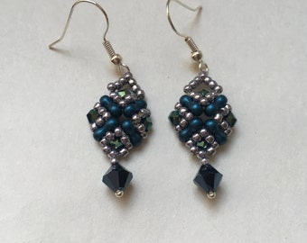 beaded earrings blue, green and silver beads dangly earrings matching set