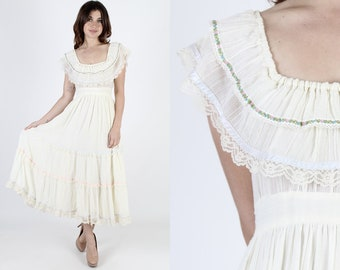 Gunne Sax Dress Boho Wedding Dress Prairie Dress Maxi Dress Renaissance Dress Vintage 70s Dress Ivory Floral Lace Tiered Boho Hippie S