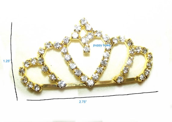 Puppy Bows ~ GOLD TIARA for bigger dogs rhinestones dog bow  pet hair clip topknot barrette (rh1)