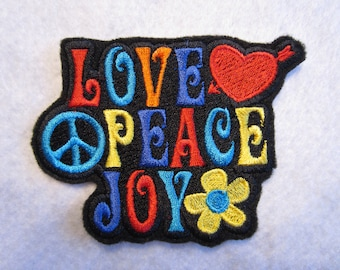 Embroidered Peace Love Joy Iron On Patch, Hippie Patch, Hippies, 60's Patch, Iron On Patch, Retro Patch, Iron On Applique