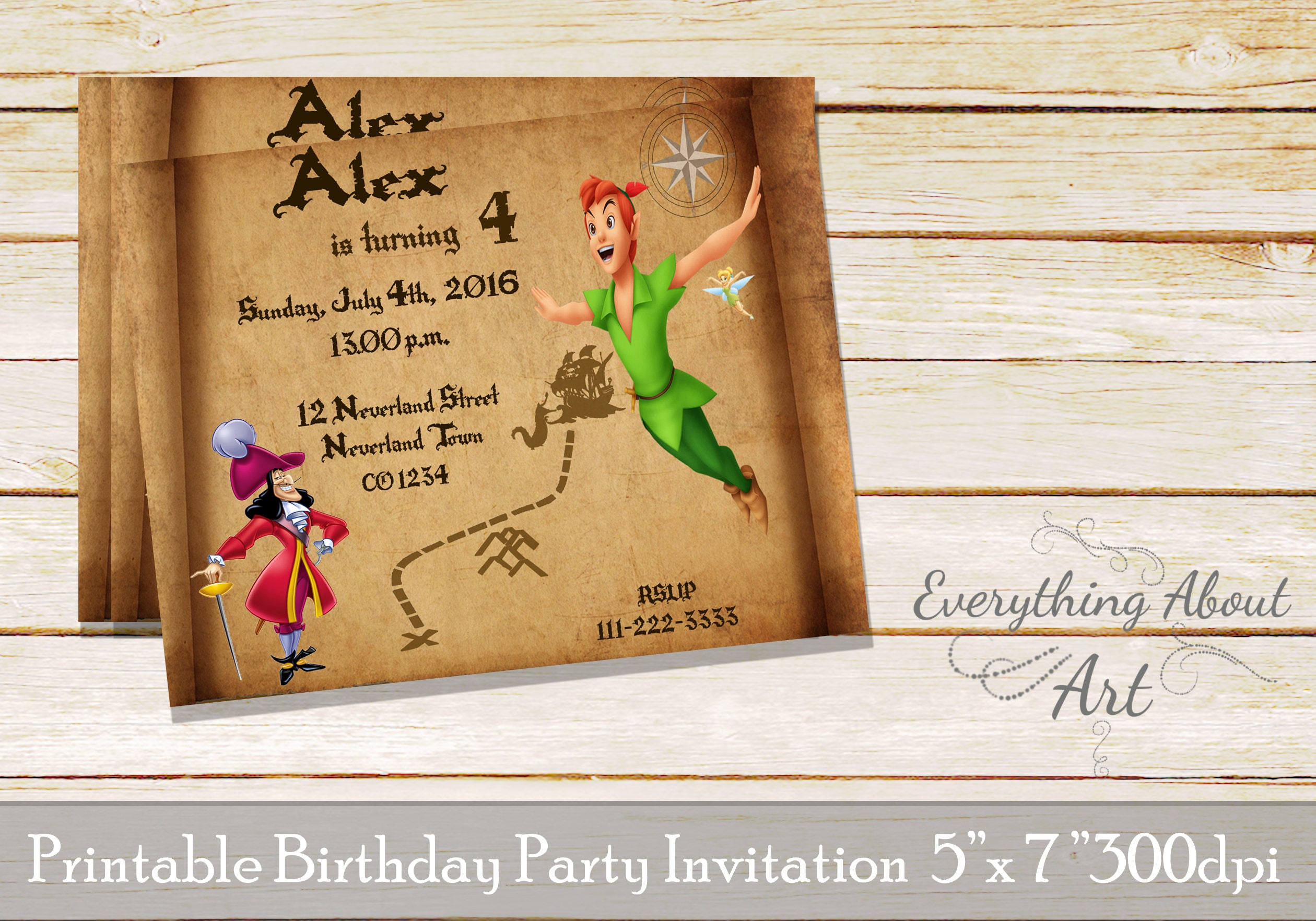 Peter Pan Birthday Invitation Peter Pan Invitation Peter