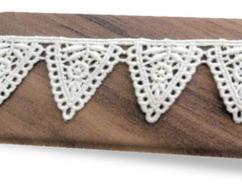 100% Organic Cotton Lace, Natural, Undyed, Sold by the Yard, 34mm