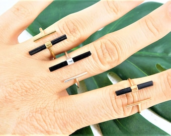 Black Tourmaline Ring, Raw Crystal Ring, Raw Tourmaline Ring, Tourmaline Crystal Bar Ring, Rough Crystal Ring, Gold T Bar Ring, Island Ashes