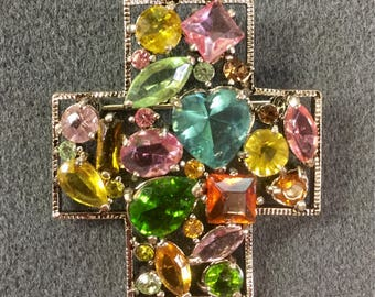 Colorful Rhinestone Silver Tone Brooch.  Free shipping