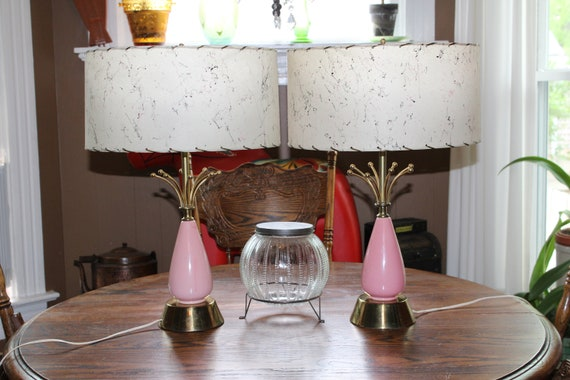 Vintage Mid Century Table Lamp Pair Pink and Gold 1950s Atomic Age
