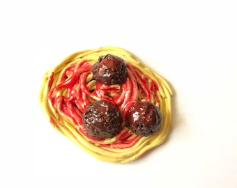 Spaghetti and Meatballs Polymer Clay Magnet