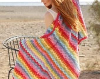 "Crochet handmade soft 100% cotton bright stripes blanket / beach throw (36 x 62 "", 92 x 158 cm)"