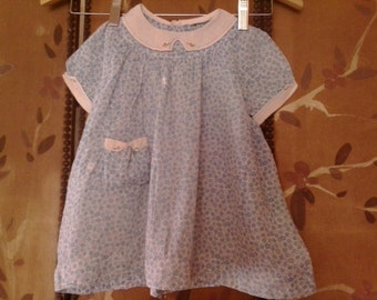 40s blue flowered baby girl dress by R H Macy and Co