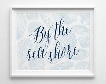 By the Seashore Decor, Nautical Shell Print, Beach Decor, Beach House Decor, Navy Blue Sea Horse Art, She Sells Sea Shells By the Sea Shore