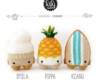 4 seasons: SUMMER (ice cream, pineapple, surfboard) • lalylala crochet pattern / amigurumi