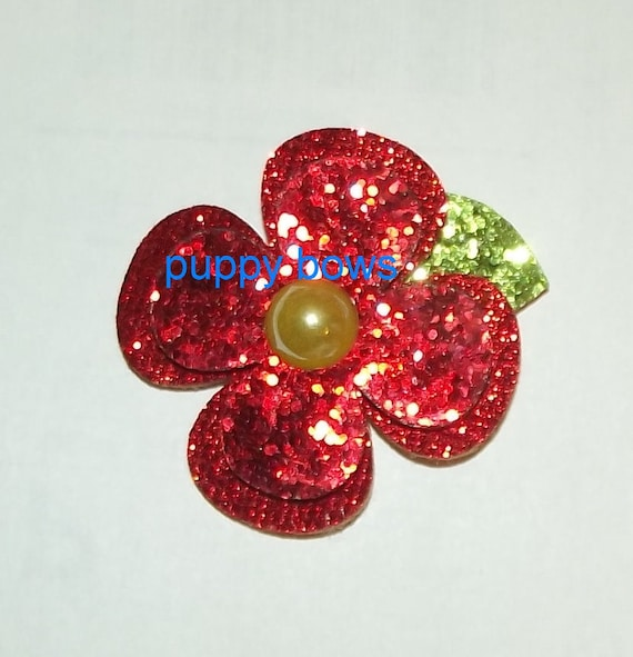 Puppy Bows ~ RED GLITTER daisy flower double layer pet hair bow dog clip  ~Usa seller (fb63)