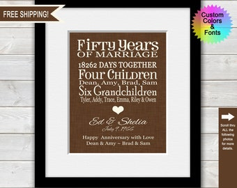 50th Anniversary Gifts for Parents, Golden Anniversary, Grandparent Anniversary, Personalized Anniversary Gift