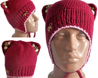 Pussycat hat, Pussyhat, knitted hat, funny hat, Hand knit hat, wool hat, winter hat, autumn hat, knitted clother, hat, cap, hat for girl