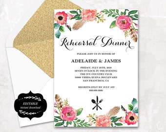 Printable Rehearsal Dinner Invitation Card Template, Floral Boho Rehearsal Dinner Card, EDITABLE Text - 5x7, Peony Flower, RD006, VW14
