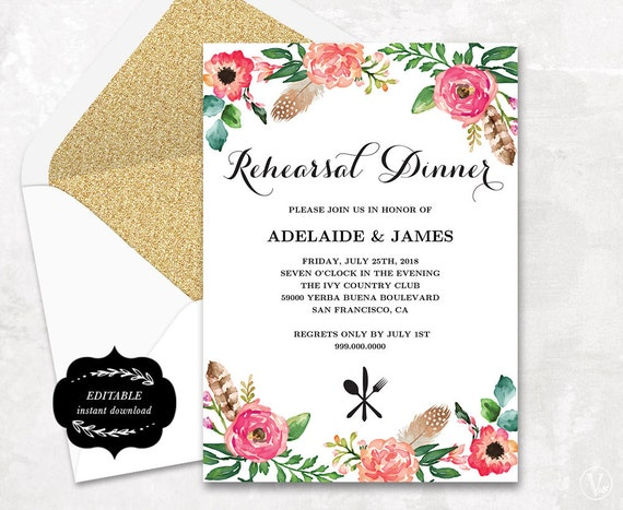 dinner invitation card template