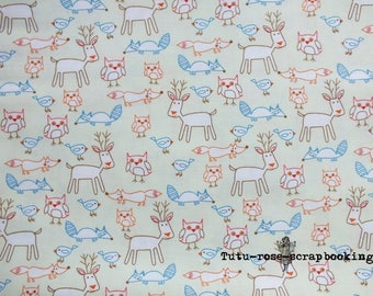 "Coupon fat quarter 45 x 53 cm (18 ""x 21"") cute Kawaii Cute boy forest animals theme"
