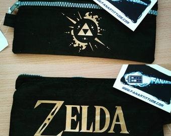 trrousse pencilcase the legend of zelda tri force video game geek retro vintage