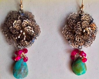 SALE-Blue Opal Vintage Rose Earrings