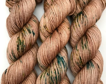 "Hand Dyed Yarn ""Woodnote Symphony"" Brown Green Yellow Orange Gold Speckled Merino Cashmere Silk Sportweight Yarn SW 300yds"