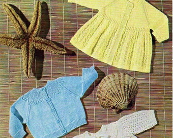 baby knitting patterns PDF baby 3 ply cardigan matinee coats matinee jackets Vintage 50s 16-18 inch 3ply Instant download