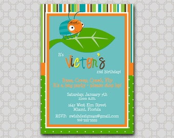 Bug Birthday Party Invitation - Cute as a bug first birthday invite - Beetle printable diy party