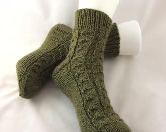 Wool Socks, Hand Knit Socks, Women's Socks, Alpaca Blend Slipper Socks, House Socks, Bed Socks, Lounge Socks, Comfy Socks