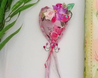 Pink Love Heart Brooch, Pin, Vintage Papers, Mixed Media, Vintage Silk Brocade, Vintage Millinery, Padded Heart, Rustic, Shabby Chic