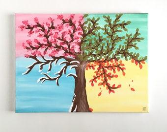 Palm Trees Sunset Wall Art Canvas Painting Original Art