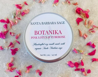 Pink Lotus & Tuberose 5oz.Soy Candle by Santa Barbara Aromatics | Gift for Her | Gift for Mom | Bridesmaid Gift | Essential Oil Candles
