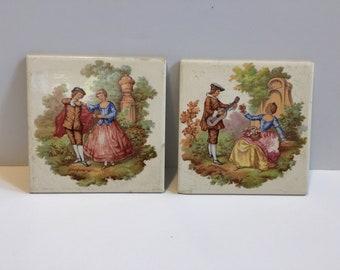 Set of Two Vintage Pilkington England Fragonard Porcelain Decorative Wall Tiles