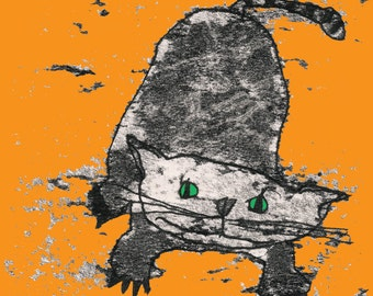 Black cat print, gift for cat lover, cat picture, pussycat drawing, green-eyed cat, pouncing cat, cat theme, cat decor, nursery art,cute cat