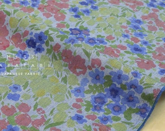 Japanese Fabric - chambray meadow - blue, green - 50cm