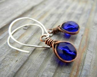 Cobalt Blue  Wire Wrapped Dangle Earrings - Oxidized Copper/Sterling Silver Earrings