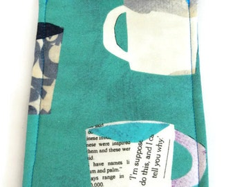 Coffee Cups Turquoise Smart Phone Cozy Sleeve Case for Ipod or Iphone