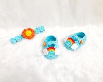 Crochet Rainbow shoes and headband set  - Baby headband - Crochet shoes - Baby Shoes - Baby girl shoes - photo shoot
