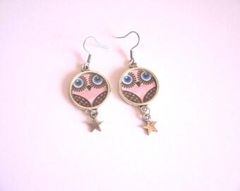 OWL owls pink star earrings