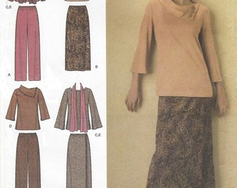Easy to Sew Womens Top or Tunic, Skirt or Pants and Scarf OOP Simplicity Sewing Pattern 4886 Size 10 12 14 16 18 Bust 32 1/2 to 40 FF